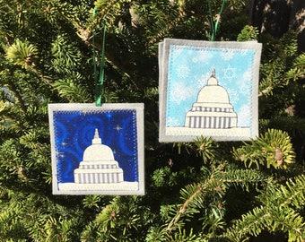 Ornament, US Capitol ornament, handmade sewn fabric ornament, 4x4 inches, hangs on satin ribbon