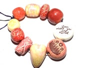 Ceramic Word Bead Set Beads Handmade Aspiration Message Beads