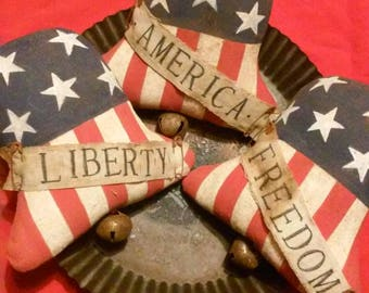 Primitive Americana 4th of July Liberty Bell Bowl Fillers