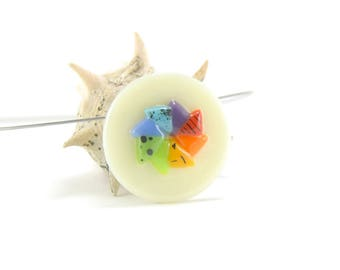 Colorful circle fused glass pinwheel necklace, round rainbow spinner pendant with spots, dots and stripes, green, red, blue, orange, purple