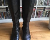 SIEGERSON MORRISON soft black leather 70s style cuban heeled boots Uk 6 US 8.5