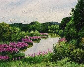 """Original Impressionist Impasto oil painting 11x14 """"Loosestrife"""""""