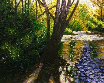 "Original Acrylic Impressionist Landscape Painting ""Sunlight, Shadow, Stream, Shore"" 11x14"
