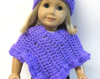 Purple Poncho and Hat For Your 18 Inch Doll
