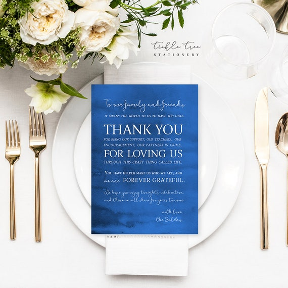 Reception Flat Thank You Cards - Blue Waters/Reception Thank You (Style 13738)