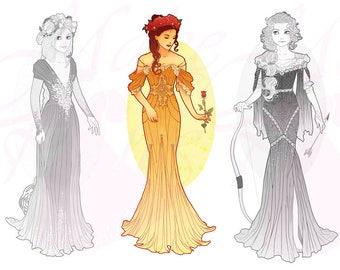 Belle Princess Mucha Style CROSS STITCH PATTERN Original Art by Hannah Alexander