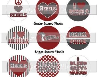 INSTANT DOWNLOAD Grey  Maroon  Rebels  School Mascot 1 inch Circle Bottlecap Images 4x6 sheet