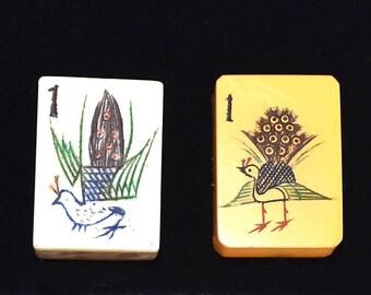 vintage mahjong tiles peacocks