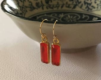 Ruby Earrings in Gold -July Birthstone Earrings -Red Crystal Earrings in Gold