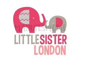 Custom Little Sister Iron on T Shirt Transfer Decal- (Little Sister Elephants Pink Gray)