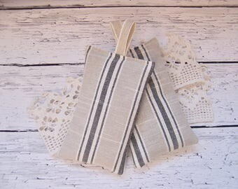 Simple linen Set of two hanging lavender sachets  for your drawers or your bathroom . sleep aid or small gift.