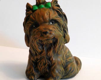 YORKSHIRE TERRIER Yorkie Figurine AGA Made in Holland w/Original Label Heavy Chalk Plaster Pottery Vintage Dog Statue