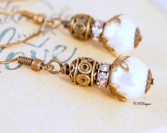 Vintage Style Pearl Drop Earrings,  Timeless Pearl Drop Earrings, Brass Dangle Earrings, Pierced or Clip-on Earrings.  Handmade Earrings.