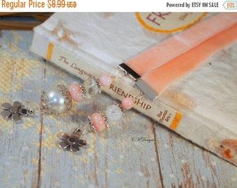 CIJ Pink Beaded Ribbon Bookmark. Velvet Ribbon Bookmark, Gift For Her, Book Lovers Gift, Teachers Gift, OOAK Handmade Bookmark.