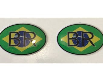 Brazil BR Domed Gel Stickers (2x) for Laptop Tablet Book Fridge Guitar Motorcycle Helmet ToolBox Door PC Smartphone