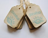 gracias. purple sea sheall. spanish thank you. coffee stained tags. hangtags. distressed shabby chic . primitive.