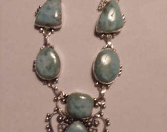 Larimar Dominican Republic necklace sterling silver