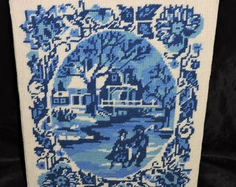 Vintage Blue White Needlepoint Picture Colonial Couple Husband Wife Walking House Floral Trees Needlework