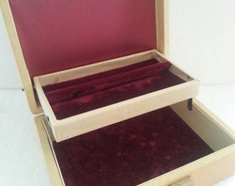 On Sale 1950's 1960's Vintage Home Decor Collectible Jewelry Box Maroon Velvet Box Mid Century Modern Trinket Treasure Box