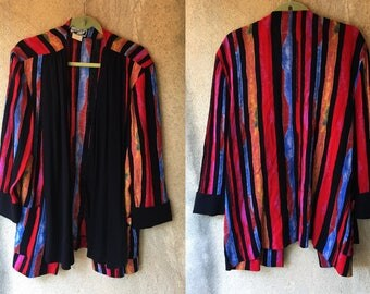 Striped Bold Red BOXY 80's Wild Draped Oversized Blazer Jacket
