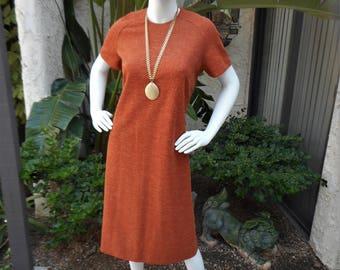 Vintage 1960's Nelly Don Orange Dress - Size 12