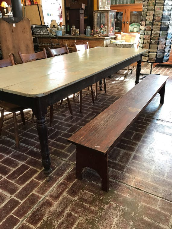 Long Antique Wood Bench w Bootjack Legs - Early Farmhouse 7 ft