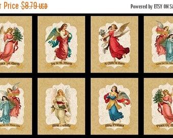 20 % off thru 8/20 ANGEL SONG Wilmington prints Christmas cotton fabric panel Christian Glad tidings of Joy  Peace on Earth-84418-519