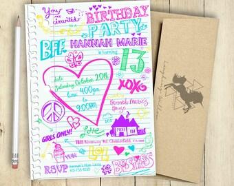 Notebook Doodles Invitation Birthday Party Invitation PRINTABLE Hearts Peace School Doodles Sketches Notebook Art Teenage Girl Invitation