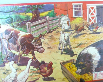 Vintage Puzzle - Barn Yard Animals - Frame Tray - Milton Bradley - 1957 - Retro Toy - Mid Century - Farm Animals - Made in the USA