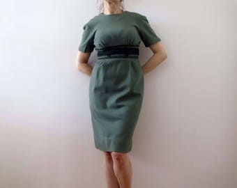 50s 60s Sage Green Winter Shift Dress Small