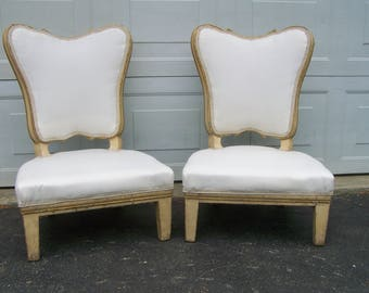 vintage chairs,pair french style chairs,chippy off white,gilded trim chairs,boudoir arm chairs,french style chairs,children's classic Chairs