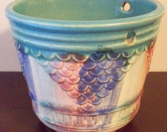 Hull Pottery Art Deco Arts and Crafts Pottery 1920's Hanging Planter Multi Color Stoneware