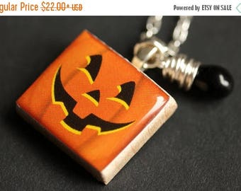 SUMMER SALE Halloween Necklace. Pumpkin Necklace. JackoLantern Necklace. Scrabble Tile Necklace with Black Teardrop. Scrabble Pendant. Handm