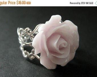 BACK to SCHOOL SALE Pale Purple Rose Ring. Purple Flower Ring. Filigree Ring. Adjustable Ring. Flower Jewelry. Handmade Jewelry.