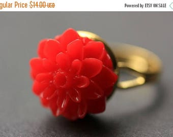 BACK to SCHOOL SALE Red Mum Flower Ring. Red Chrysanthemum Ring. Red Flower Ring. Adjustable Ring. Handmade Flower Jewelry.