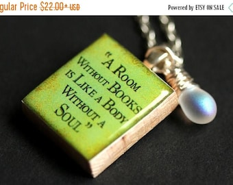 BACK to SCHOOL SALE A Room Without Books Necklace. Quote Necklace. Scrabble Tile Necklace Green Necklace with Frosted Teardrop Scrabble Pend