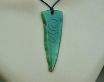 Pounamu New Zealand Greenstone~with Maori koru engraving