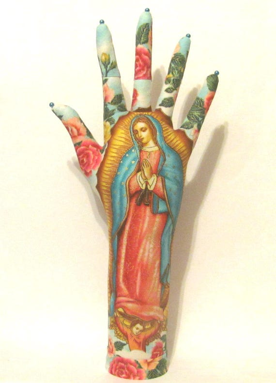 Our Lady of Guadalupe Fabric HAND-Stand TALL Necklace Stand Ready to Ship