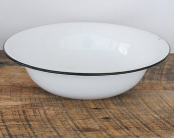 Vintage Enamelware Basin Bowl White with Black Rim