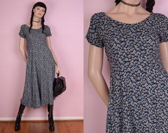 80s Floral Print Maxi Dress/ US 5-6/ 1980s
