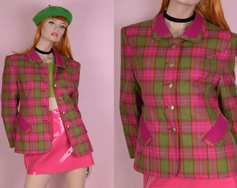 80s Pink and Green Plaid Blazer/ US 11/ 1980s/ Jacket