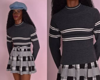 90s Gray Black and White Striped Knit Top/ Medium/ 1990s/ Long Sleeve/ Turtleneck