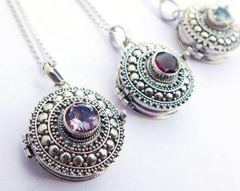 20mm Round Amethyst Treasure Container Locket Sterling Silver Pendant (Necklace) JD81