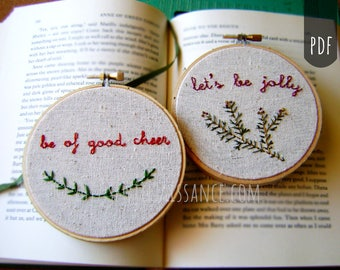 PDF Stitching Embroidery Pattern Holiday Christmas Sayings Let's Be Jolly