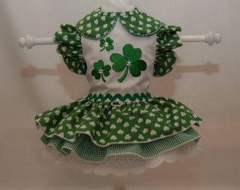 St. Patrick's Day Triple Shamrock Dog Dress