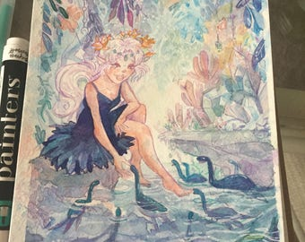 Fairy and her dinosaurs. Original painting