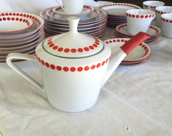 Northland mcm teapot RED POLKA DOT red or dark orange coffee pot retro red polka dot china Hungary modernist design