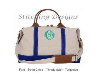 Monogrammed Overnight bag, Weekender Canvas Duffle Bag, canvas satchel with ROYAL trim and leather handles