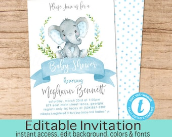 Boy Elephant Baby Shower Invitation, Safari Elephant Invitation, Editable invitation, Watercolor Baby Elephant Invitation, Instant Download