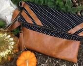Noir et blanc Foldover sac - sac en simili cuir détaillant - cabas - Cognac - Boho Chic - rustique - tissu sac à main - sac à fermeture à glissière - replier